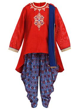 Tiber Taber Red N Blue Kids Salwar Kameez