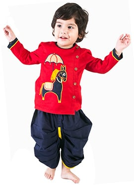 Tiber Taber Red N Navy Blue Kids Dhoti Kurta
