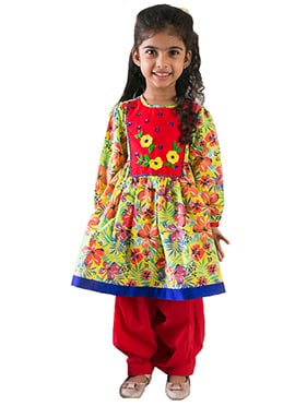 Tiber Taber Red N Yellow Kids Anarkali Suit