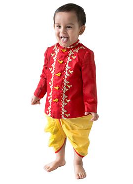 Tiber Taber Red N Yellow Kids Bandhgala Dhoti Set