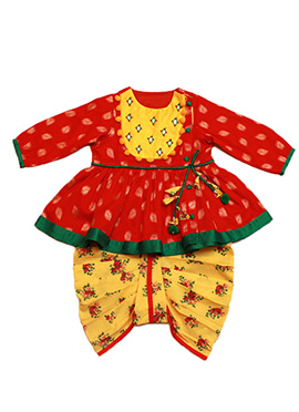 Tiber Taber Red N Yellow Kids Salwar Kameez