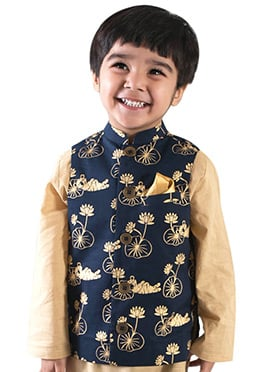 Tiber Taber Regal Blue N Beige Kids Nehru Jacket