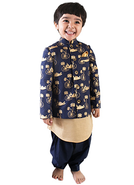 Tiber Taber Regal Blue N Beige Kids Bandi Set