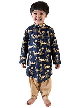 Tiber Taber Regal Blue N Gold Kids Kurta Pyjama