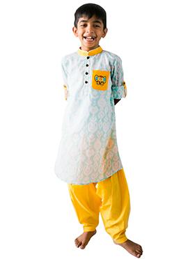 Tiber Taber Sky Blue N Yellow Kids Kurta Pyjama