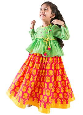 Tiber Taber Tricolored Kids Lehenga Choli