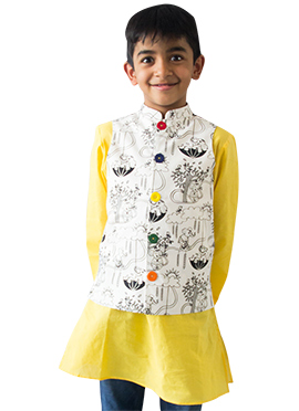 Tiber Taber White Kids Nehru Jacket