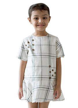 Tiber Taber White N Black Kids Dress