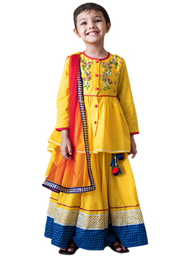 Tiber Taber Yellow Kids Long Choli Lehenga
