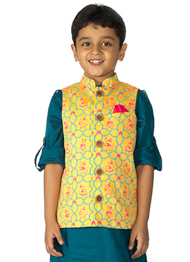 Tiber Taber Yellow Kids Nehru Jacket