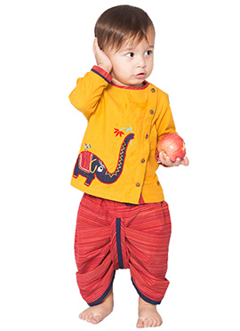 Tiber Taber Yellow N Red Kids Handloom Dhoti Kurta