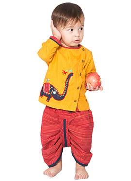 Tiber Taber Yellow N Red Kids Handloom Dhoti Kurta