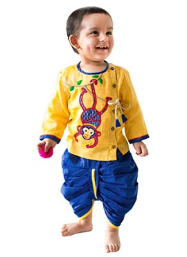 Tiber Taber Yellow N Royal Blue Kids Dhoti Kurta