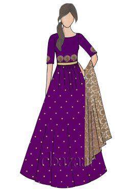 Tillandsia Purple Raw Silk Abaya Style Anarkali