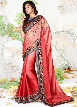 Tomato Red Art silk Saree