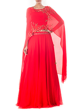 Tomato Red Long Cape Skirt Set