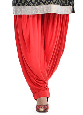 Tomato Red Lycra Patiala Pant