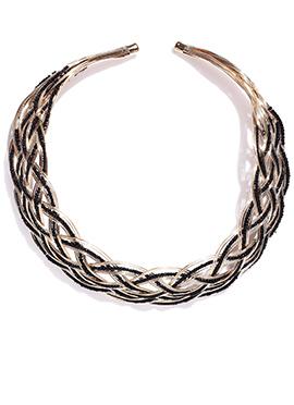 Toniq Black N Golden Spiral Pattern Necklace
