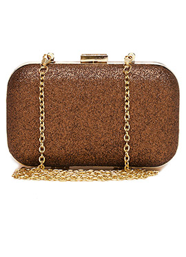 Toniq Brown N Gold Box Clutch