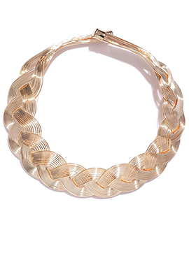 Toniq Golden Spiral Patterned Necklace