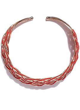 Toniq Red N Golden Spiral Pattern Necklace