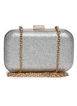 Toniq Silver Box Clutch
