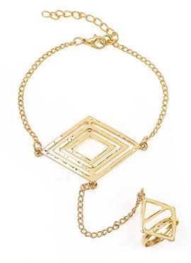 Traditional Diamond Shape Golden Haath Phool