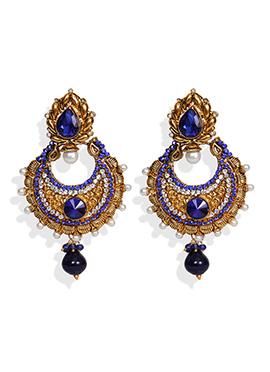 Traditsiya Gold N Blue Chand Bali Earrings