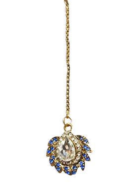 Traditsiya Gold N Blue Stone Studded Maang Tika