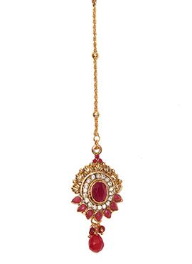 Traditsiya Gold N Maroon Embellished Maang Tika