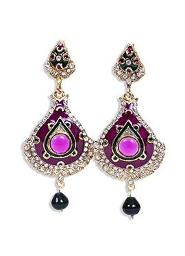 Traditsiya Gold N Purple Stone Studded Danglers