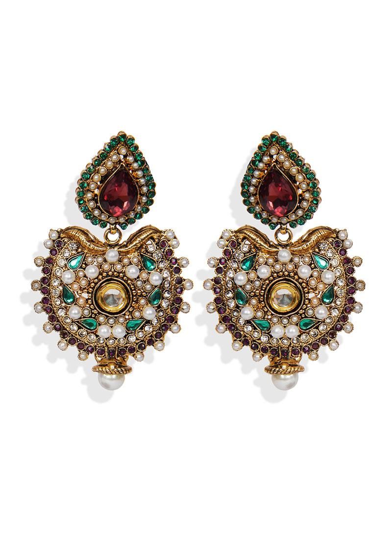 Buy Traditsiya Gold N White Chand Bali Earrings Stones Crystals