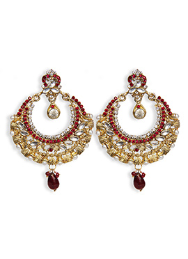 Traditsiya Gold N White Chand Bali Earrings