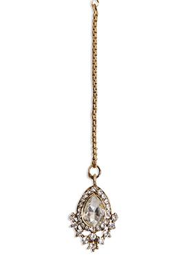 Traditsiya Golden Chain Stones Studded Maangtikka
