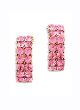 Traditsiya Pink Stone Ornate Studs