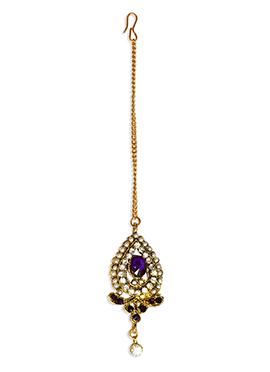 Traditsiya Purple Stones Studded Maangtikka