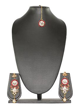 Traditsiya Red Crystals Maangtikka Set