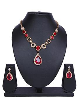 Traditsiya Red N Gold Color Necklace Set