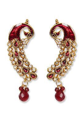 Traditsiya Red N Gold Ear Cuffs