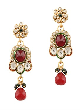 Traditsiya Stone Ornate Golden Colored Danglers