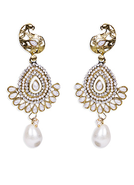 Traditsiya White Moti Studded Drop Earrings