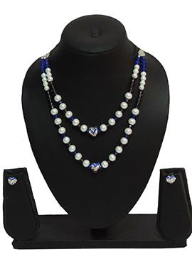 Traditsiya White N Blue Necklace Set