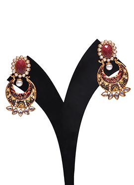 Traditsiya White N Gold Colored Chand Bali Earring
