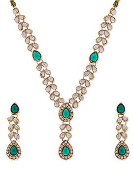 Traditsiya White N Green Kundan Necklace set