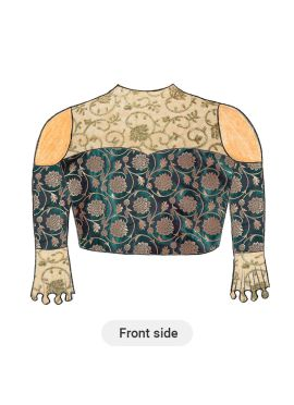 Trendy Aqua Green Cold Shoulder Blouse with Beige N Gold Floral Embroiderey