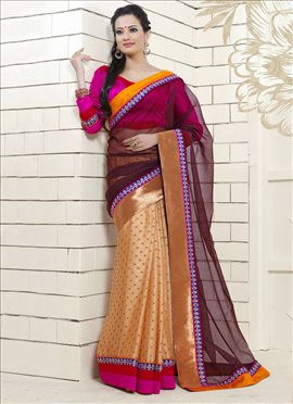 Trendy Beige N Brown Half N Half Saree