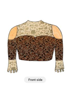 Trendy Black Cold Shoulder Blouse with Beige N Gold Floral Embroiderey