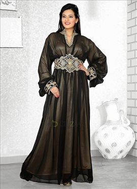Trendy Black Georgette Fustan