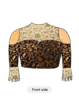 Trendy Gold N Black Cold Shoulder Blouse with Beige N Gold Floral Embroiderey