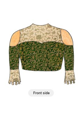 Trendy Green Cold Shoulder Blouse with Beige N Gold Floral Embroiderey